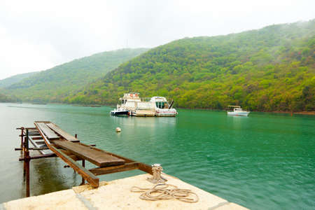 drizzling rain: bay in Istria, Croatia  At the time of drizzling rain