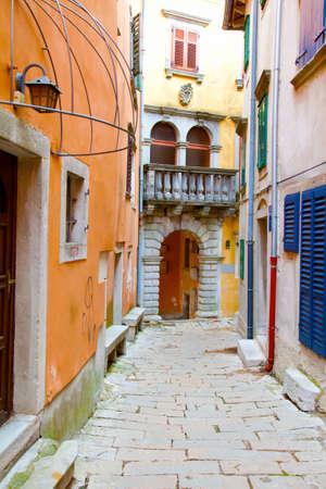 adriatic: Narrow Street in the City of Rovinj, Croatia Stock Photo