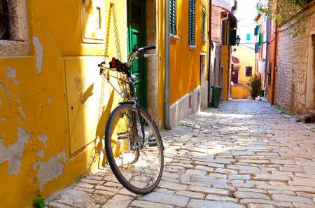 the cobblestones: street in the small town Rovinj, Croatia