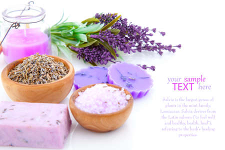 bar of natural soap, dry Lavender herbs and bath salt  isolated on white background photo