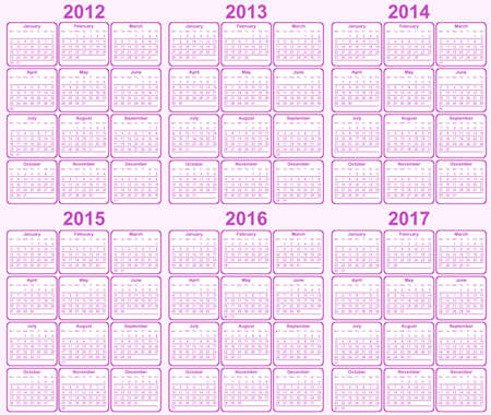 カレンダー 2013、2014、2015年、2016年、2017年