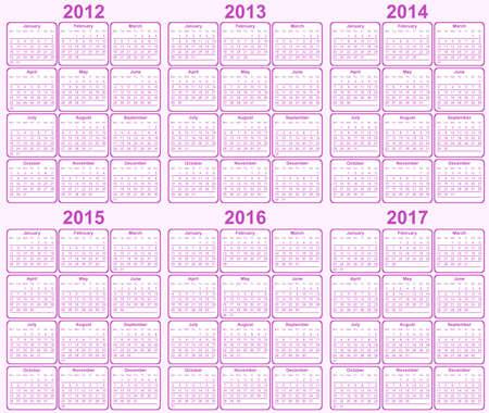 Calendar 2013, 2014, 2015, 2016, 2017 Vector