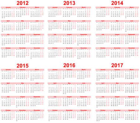 Calendar 2012, 2013, 2014, 2015, 2016, 2017 Vector