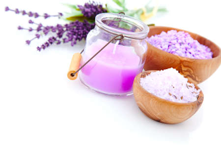 Lavender bath salt, isolated on white background photo