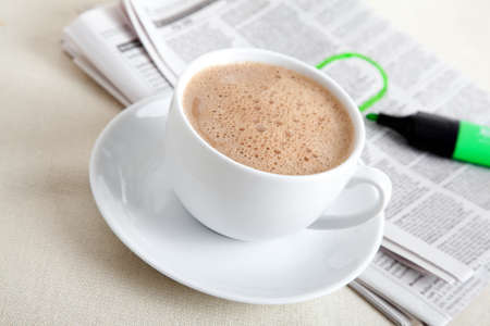 hot news: Morning coffee with newspaper Stock Photo