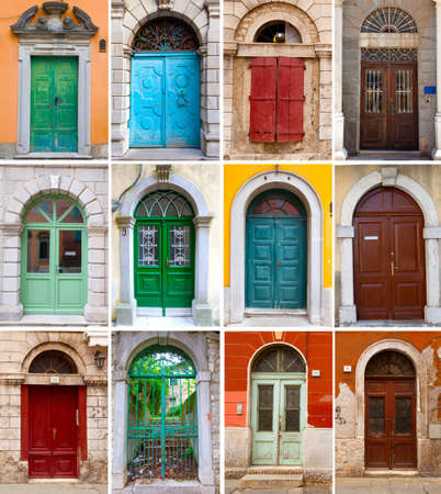 A photo collage of colourful front doors to houses and homes