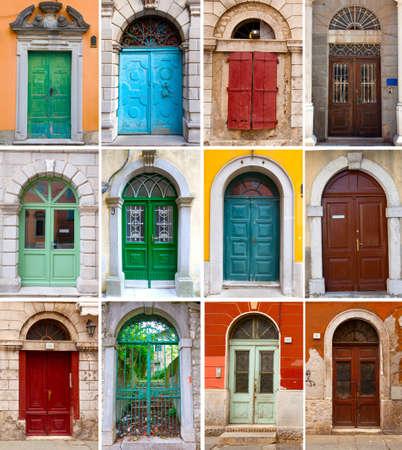 Eine Foto-Collage aus bunten Haustüren, um Häuser und Wohnungen
