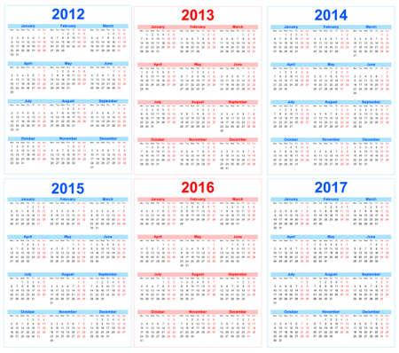 カレンダー 2012、2013、2014年、2015年、2016年、2017年  イラスト・ベクター素材