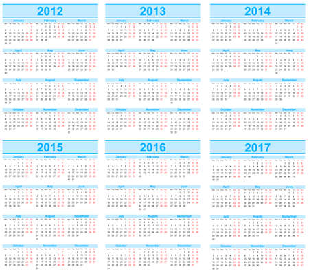 weekday: Calendar 2012, 2013, 2014, 2015, 2016, 2017