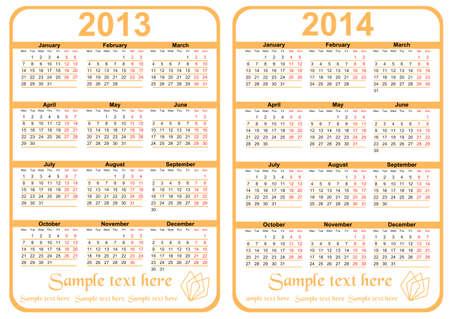 20113-2014 年のカレンダー