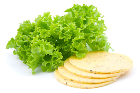 chees: cheese with green salad lettuce, on white