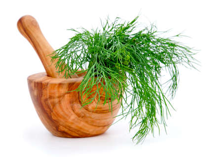 herbalist: wooden mortar with dill, on white background