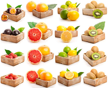 Red grapefruits, lychees, kiwi, passion fruit, yellow and green lemon isolated on white Stock Photo - 14393825