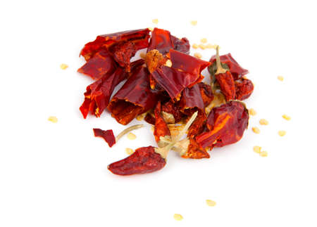 Dried Hot Chili Peppers Isolated on White Background photo