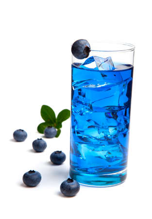 floating on water: Blueberry juice   cocktail with ice, isolated on white background