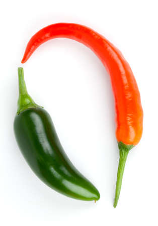 red jalapeno: Hot chili pepper and green Jalapeno pepper isolated on white