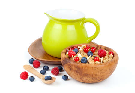 muesli breakfast with fruit and milk photo