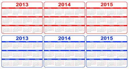 カレンダー 2013年-2015 年のレッド、ブルー  イラスト・ベクター素材