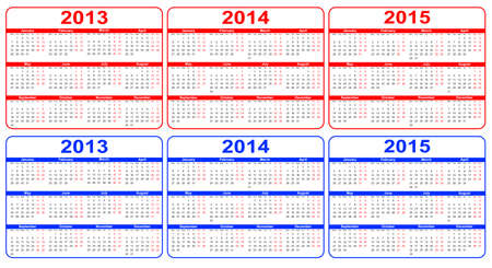 calendar 2013-2015 red, blue Vector