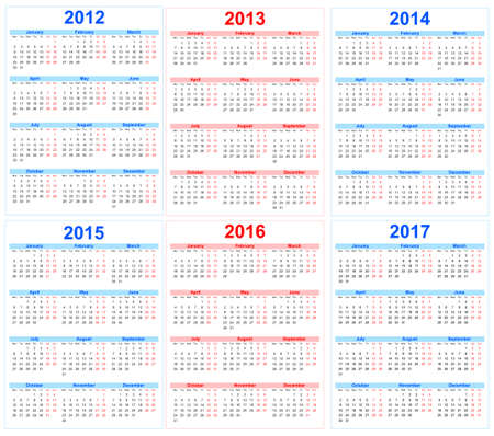 Kalender 2012, 2013, 2014, 2015, 2016, 2017