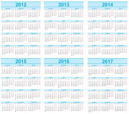 Calendar 2012, 2013, 2014, 2015, 2016, 2017 Stock Vector - 15283606