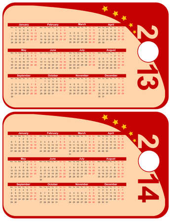 red calendar 2013-2014 in the form of labels Stock Vector - 15283595