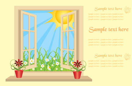 Opened plastic window in room with view to green field. Stock Vector - 15276280