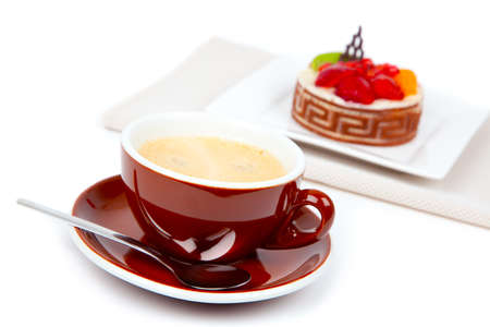 cup coffee with cake, on white background photo