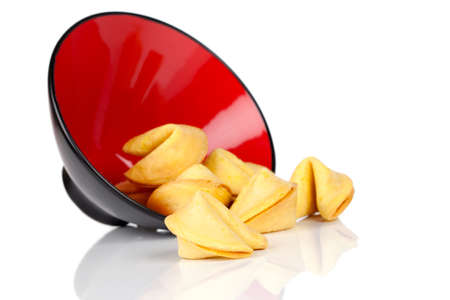 Bowl of Fortune Cookies, Isolated on white background photo