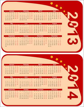 red calendar 2013-2014 in the form of labels, vector Vector