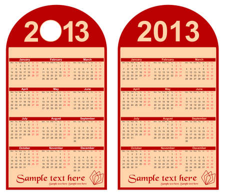red calendar 2013-2014 in the form of labels, vector