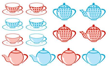 tea kettle: set of tea cup, teakettle  vector illustration
