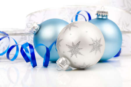 Christmas balls  ornaments, on a white background with copy space photo