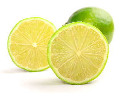Slice of fresh lemon isolated on white background photo