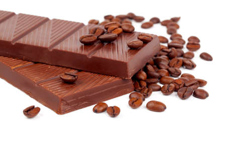 Chocolate with Coffee beans, on white background photo