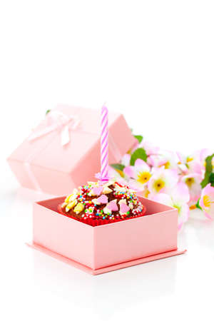 birthday   Valentine cupcake with a candle, isolated on a white background Stock Photo - 16758465