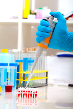nitril: researcher loads DNA samples for PCR analysis