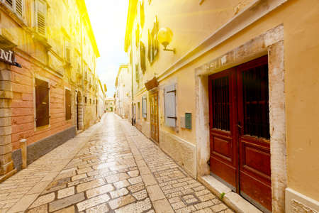 Narrow Street in the City of Rovinj, Croatia photo