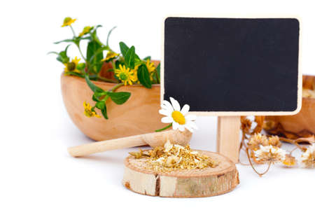 homoeopathic: dried chamomile, medicinal herbs Stock Photo