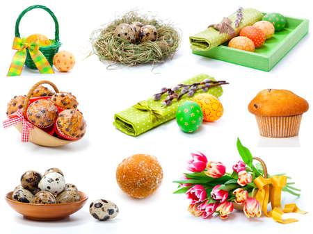 serviette: conjunto de los tulipanes, los huevos de Pascua pintados, molletes y huevos de codorniz. en un fondo blanco