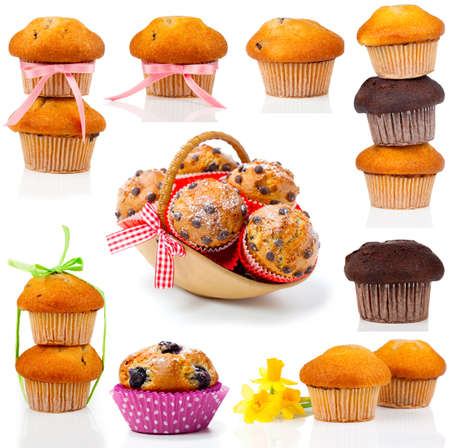 set of muffins, isolated on white background. photo