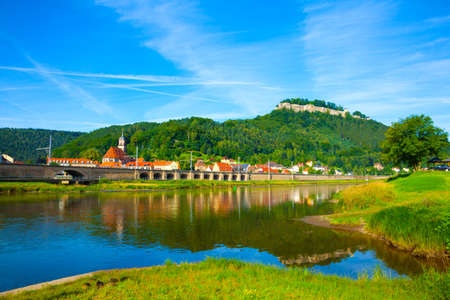 landscape on the River Elbe, Germany, the region of Europe. old city Koenigstein photo