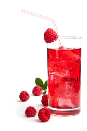 raspberry Cocktail with ice and berry, isolated on white background photo