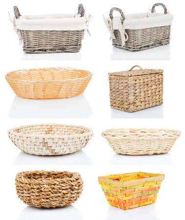 wooden basket: set of wooden baskets, isolated on a white background