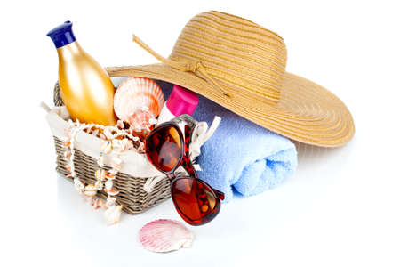 women's accessories for outdoor relaxation. beach items isolated on white background, summertime vacation and travel