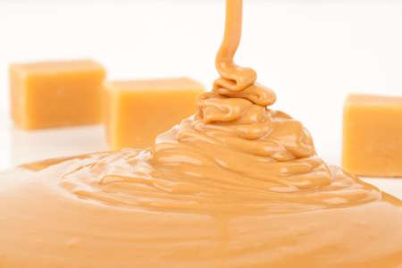 liquid caramel, isolated on white background Stock Photo