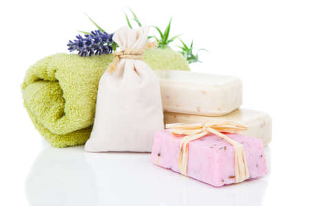 toiletries for relaxation, isolated on white background photo
