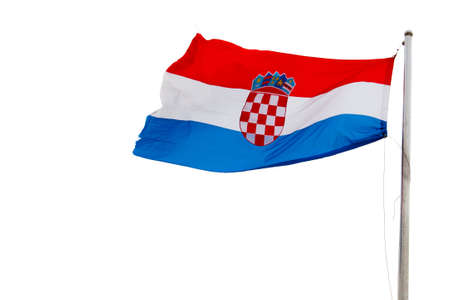 croatian flag on a pole over white background photo