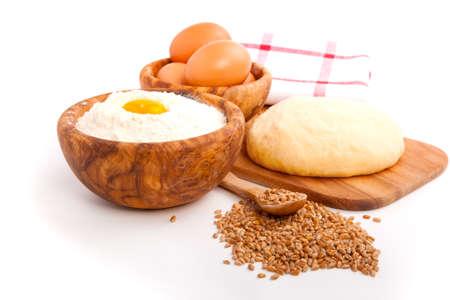 Raw dough, isolated on white background photo