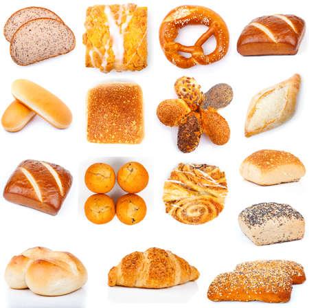 set of tasty buns, on a white background photo